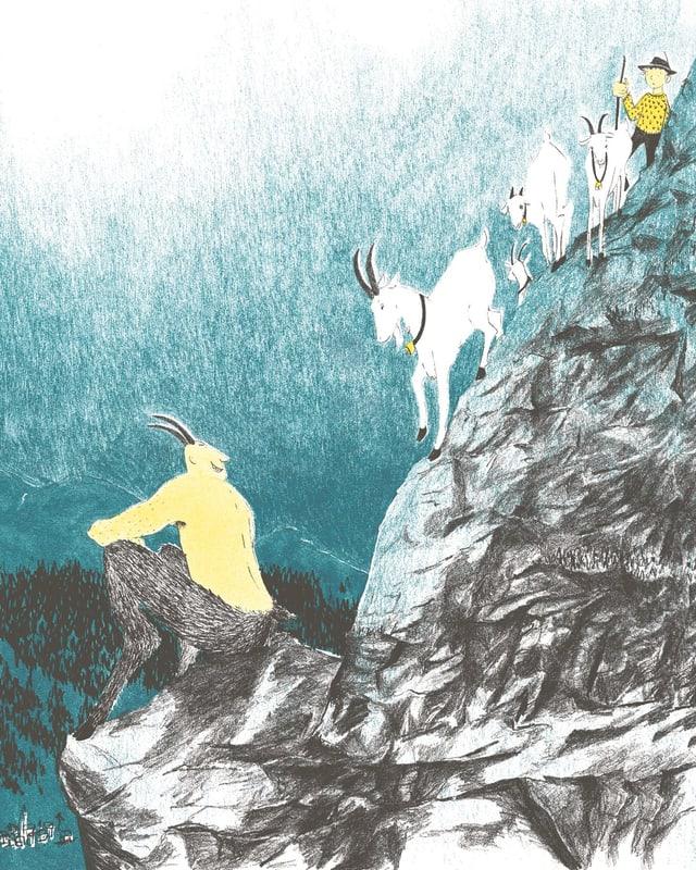 Eine Zeichnung von einem Teufel und einem Ziegenbock.