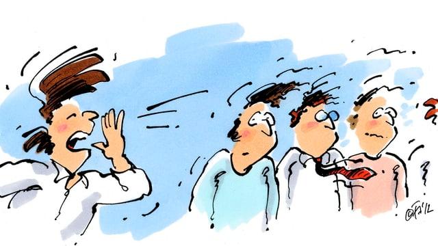 Karikatur eines schreienden Mannes.