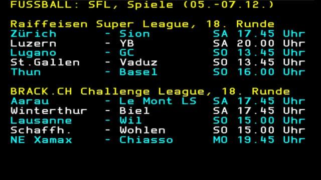 Die 18. Runde der Super League.