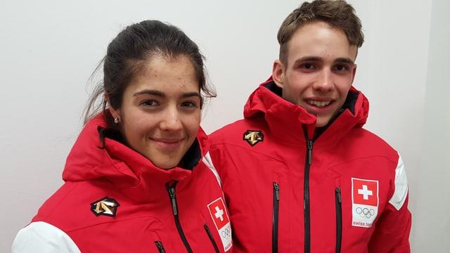 Ils sportists giuvens Giuliana Werro e Nico Salutt da Zernez.