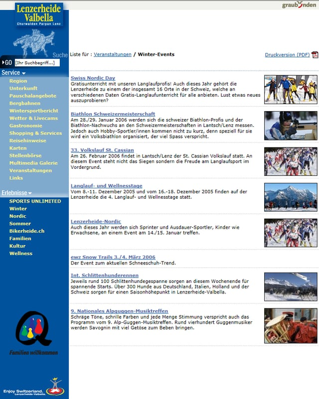 Ina part da la survista dals eveniments dal 2006 en la regiun Lai-Valbella.