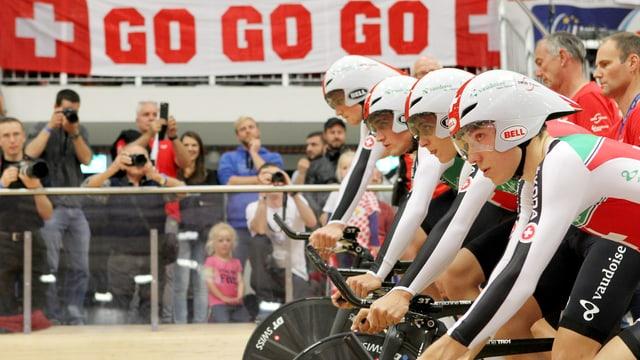 Auf Stefan Kueng, Silvan Dillier, Thery Schir und Frank Pasche (v.l.n.r.) ruhen die Hoffnungen der Schweizer Radsportfans.