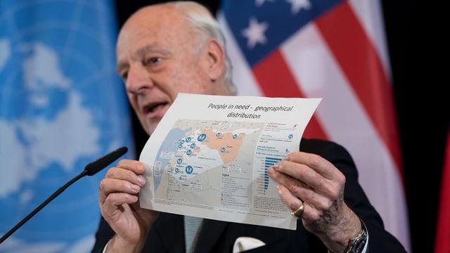 Staffan de Mistura, l'intermediatur spezial da l'ONU per la Siria.