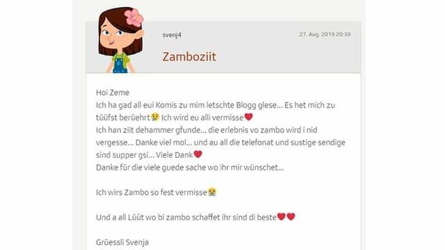 svenja schreibt im blog, dass sie zambo vermissen wird