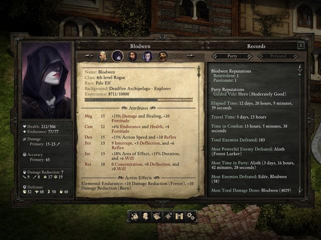 Der Charakterbogen der Gamefigur Blodwen.