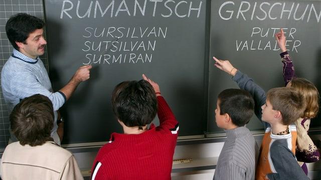 Scolaras e scolars en scola.