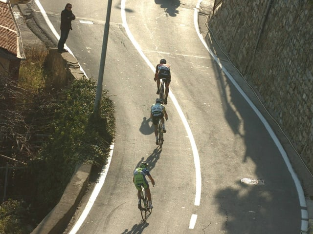 Jagdszene am Poggio mit Cancellara, Gerrans und Nibali.