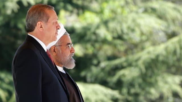 Ils dus collegas d'uffizi Recep Tayyip Erdogan e Hassan Rohani tar l'inscunter a Teheran.