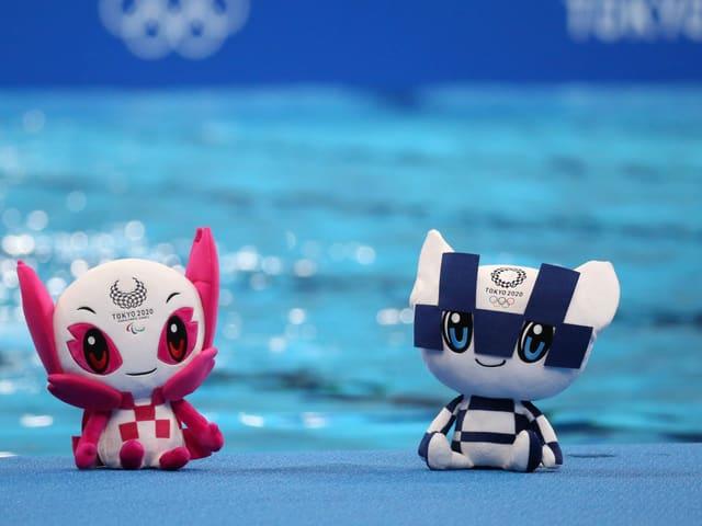 Die beiden Maskottchen Someity (Paralympics) und Miraitowa (Olympia).