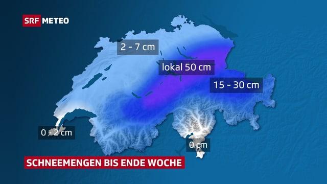 Die Karte zeigt wo bis Ende Woche wie viel Schnee erwartet werden darf. In den Alpen und Voralpen der Zentral- und Ostschweiz werden die grössten Mengen, lokal bis 50 Zentimeter erwartet.