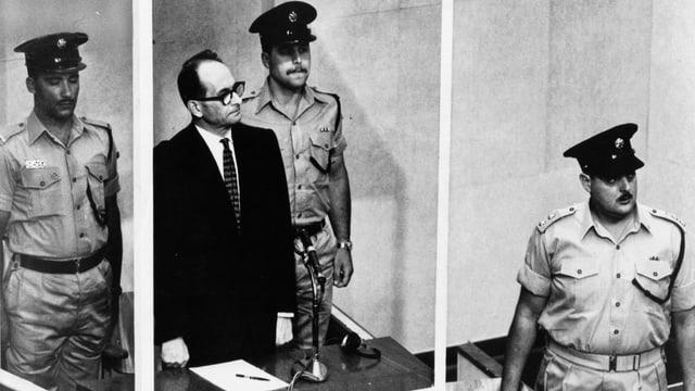 Adolf Eichmann im Gerichtssaal.