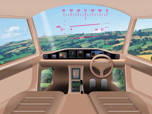Zukunftsmusik: Das Cockpit eines fliegenden Autos