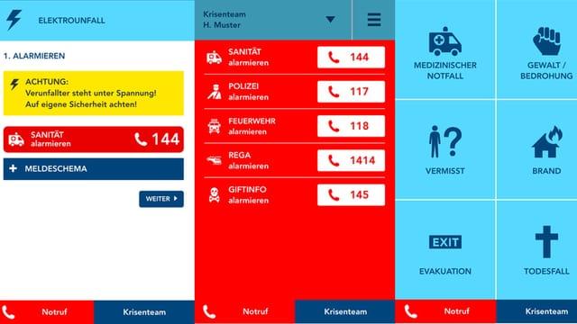 Screenshots der Notfallapp.