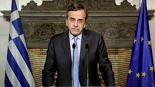 Der griechische Premierminister Antonis Samaras bei seiner TV-Ansprache am Sonntag.