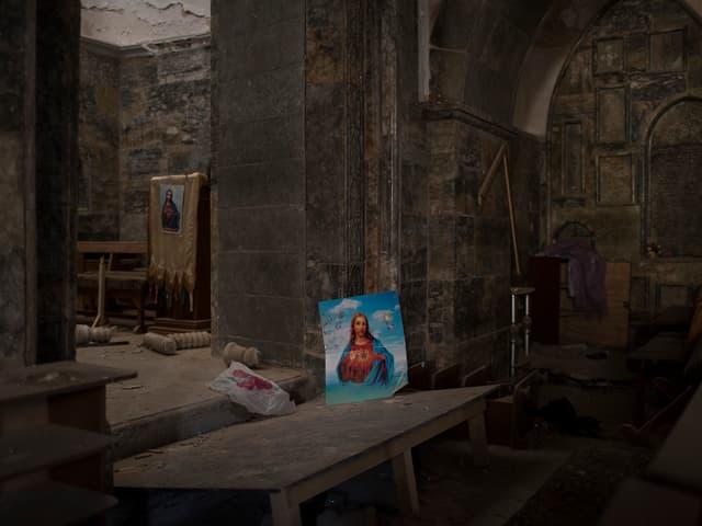 Durch die Terroristen des IS zerstört – die Kirche von Karakosch, 32 Kilometer von Mossul.