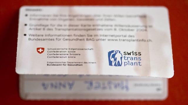Ina carta da donatur d'organs.
