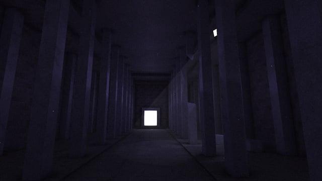 Dunkle Säulenhalle