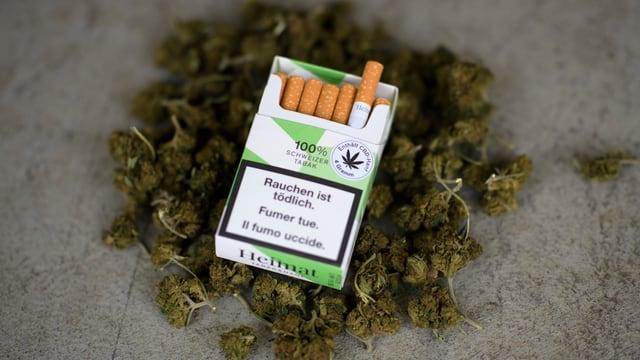 Eine Packung Hanf-Zigaretten.