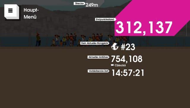 Das Resultat meines Versuchs: 312137 Punkte. Der Führende hat 754108.