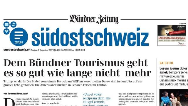 """Neue Frontseite der Südostschweiz mit Untertitel """"Bündner Zeitung"""""""
