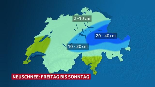 Schweizerkarte mit den Schneemengen. Osten bis 40 cm, Westen kaum Schnee.