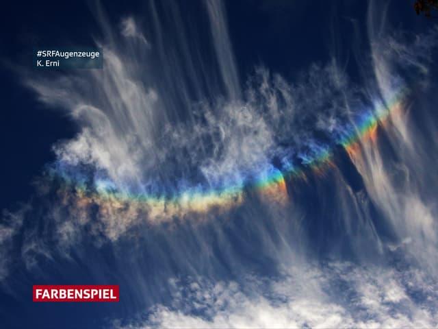 Regenbogenfarben in einer Eiskristallwolke.