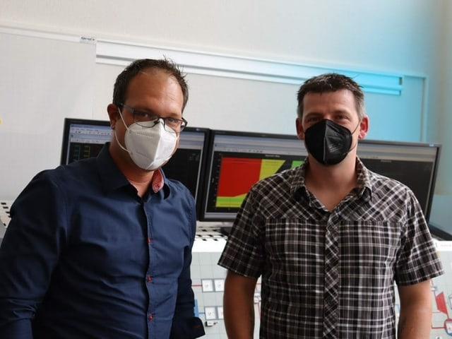 Die angehenden Reaktoroperateure Michael Wernli (l) und Michel Bürgin (r).