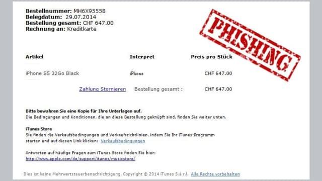 Mail-Kopie mit dem Stempel Phishing.