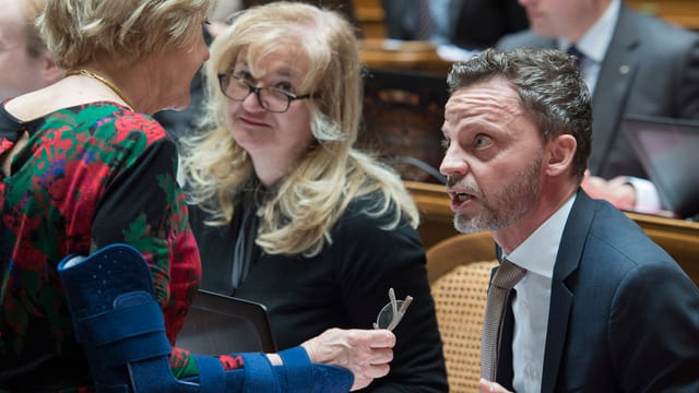 Hans Ueli Vogt (PPS/ZH) e Susanne Leutenegger Oberholzer (PS/BL), s'occupan cun la taxa a la funtauna.