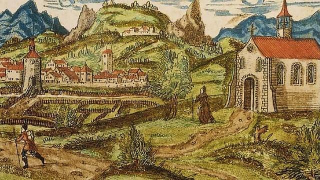 Gezeichnete Landschaft mit einem Kloster und einer Stadt im Hintergrund.