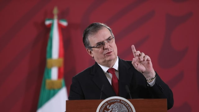 Der mexikanische Aussenminister Marcelo Ebrad an einer Pressekonferenz zum Abschluss von USMCA.