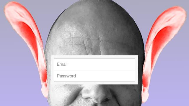 """Ein Gesicht, über den Augen ein Formularfeld """"Email"""" und """"Password"""" - und links und rechts zwei riesige Ohren."""