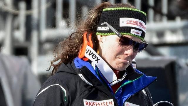 Nadja Kamer hätte in der Abfahrt für eine 2. Schweizer Medaille sorgen können.