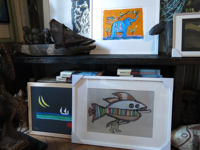 Zeichnungen von Scapa: Fisch, Elefant