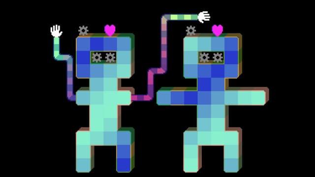 Zwei Pixelgestalten, zwei Herzen, zwei Hände - so schwierig kann Liebe sein.