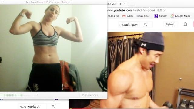 Screenshots einer Frau und eines Mannes, die ihre Muskeln zeigen.