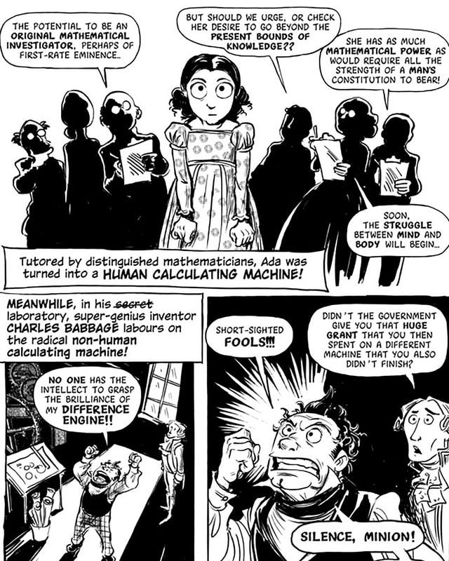 Comic: Schattengestalten sprechen über ein kleines Mädchen. Darunter: Ein Mann hat einen Wutanfall.