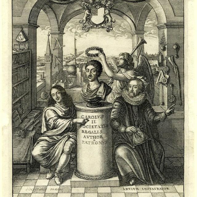 Eine Säule mit einer Büste. Daneben zwei Figuren mit wallenden Gewändern und ein Engel, der die Büste krönt.