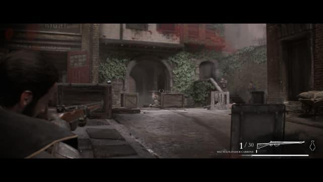 Ein Fadenkreuz, Name und Ladezustand der Waffe, leicht rot eingefärbter Bildschirm, weil angeschlagen.