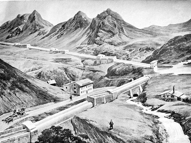 Zeichnung. Wasserkanäle durch Gebirge.