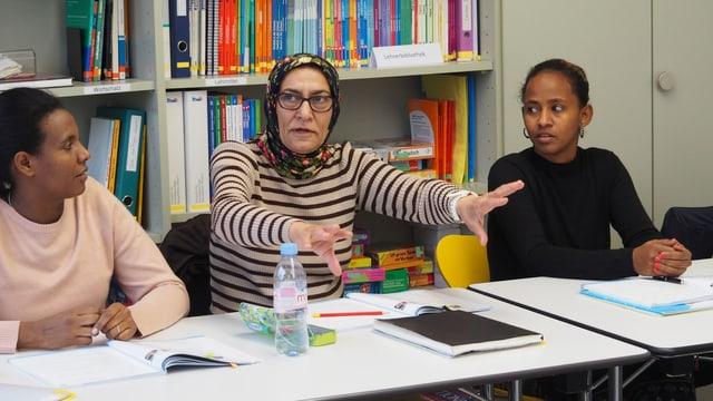 Drei Teilnehmerinnen des Sprachkurses.