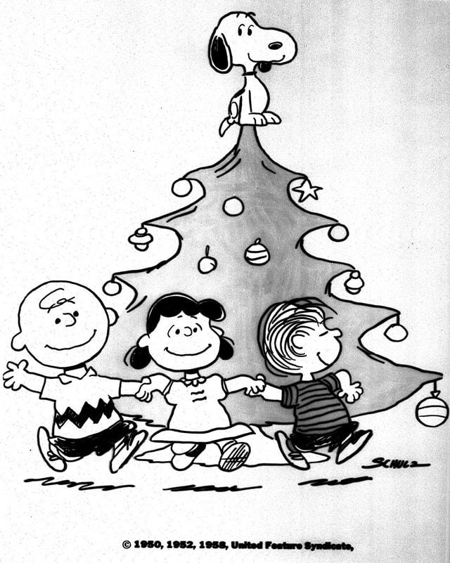 Comic: Charlie, Lucy und Linus vor dem Weihnachtsbaum. Auf der Baumspitze steht Snoopy.