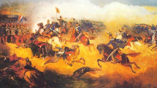 Ein Gemälder der Schlacht von Solferino zeigt Soldaten im Kampf.