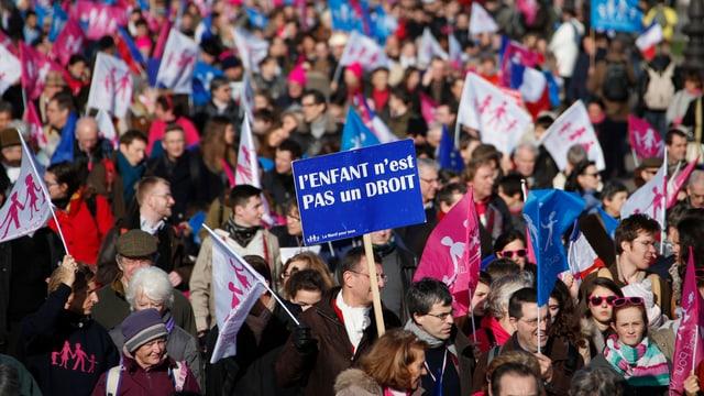Demonstranten in Paris tragen blaue, weisse und rosarote Fahnen.