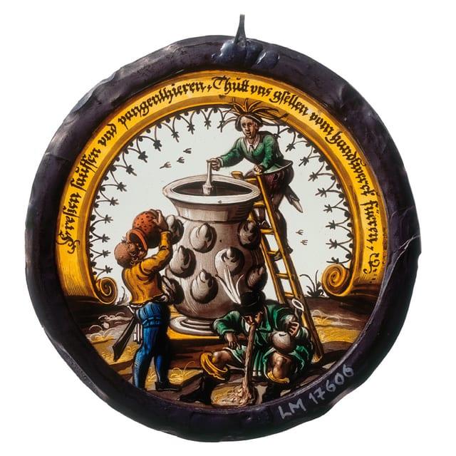 Die Interpretation des Bildes ist klar: Die Trunkenheit hält die Handwerker von ihrer Arbeit ab.