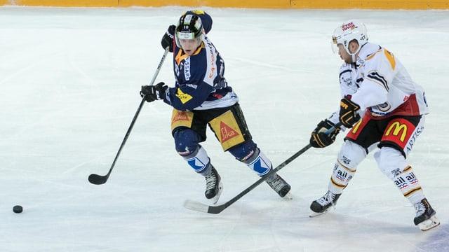 Zugs Dominic Lammer (l.) und Luganos Luca Fazzini.