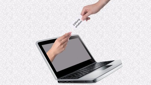 Eine Hand reicht einen Zetel aus einem Laptopbildschirm, eine andere greift nach ihm.