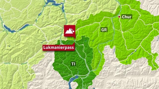 Karte zeigt Verortung des Lukmanierpasses.