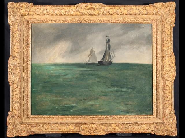 Gemälde mit Segelschiff und Meer.