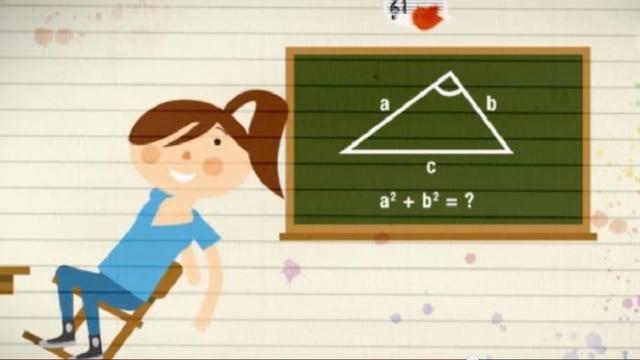 dessegn, tavla cun in trianghel geometric, ina scolara dasperas